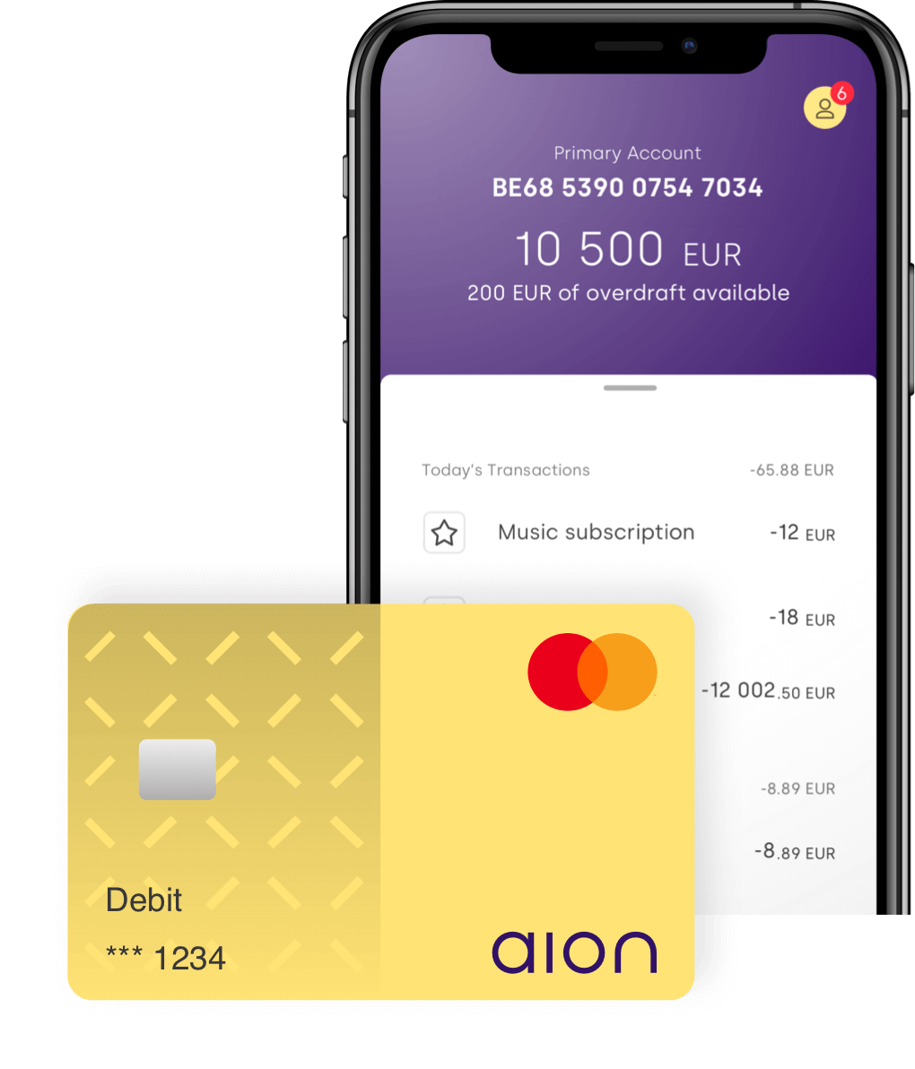 Aion Bank account with transactions and debit card