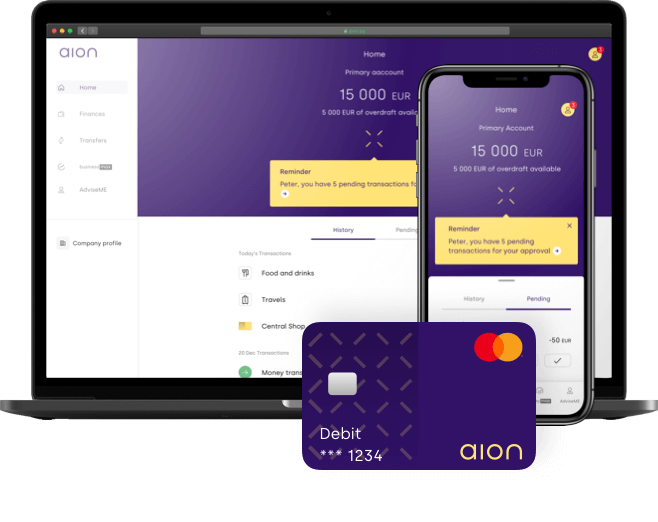 Aion Bank business account with transactions and debit card